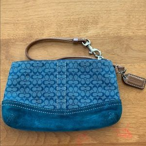 Coach Blue Wristlet with Tan Leather Strap
